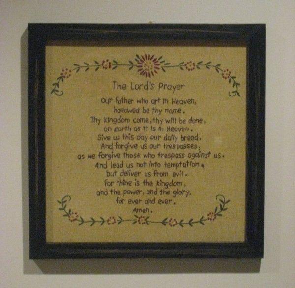 Primitive Stitchery/Sampler - The Lord's Prayer Picture - 14385 in Home & Garden | eBay