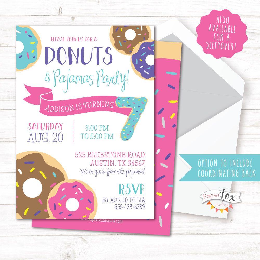 Donuts and Pajamas Invitation, Donuts and Pajamas Party, Donut ...