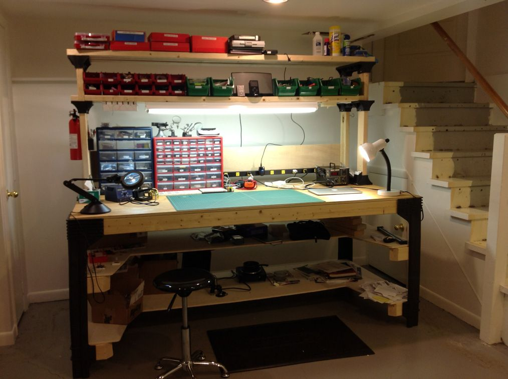 Marvelous Electronics Bench Built Using 2X4Basics Plastic Posts And Squirreltailoven Fun Painted Chair Ideas Images Squirreltailovenorg