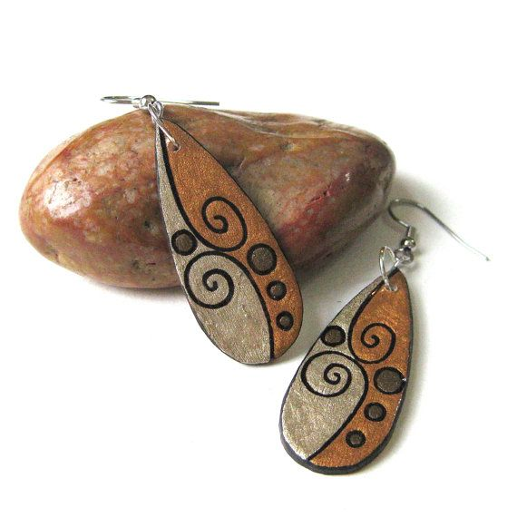 Wood Burned Teardrop Dangle Earrings  Surgical by mybellebijoux, $20.00