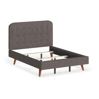 Carson Carrington Dalvik Mid-century Upholstered Queen-size Platform Bed (Grey), Gray