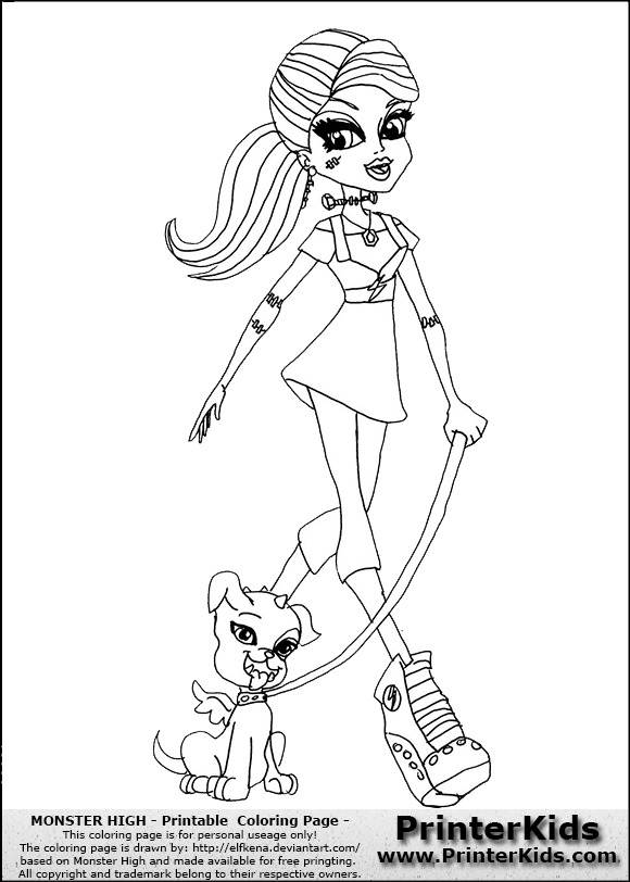 monster high coloring pages Monster High Frankie Stein Walking