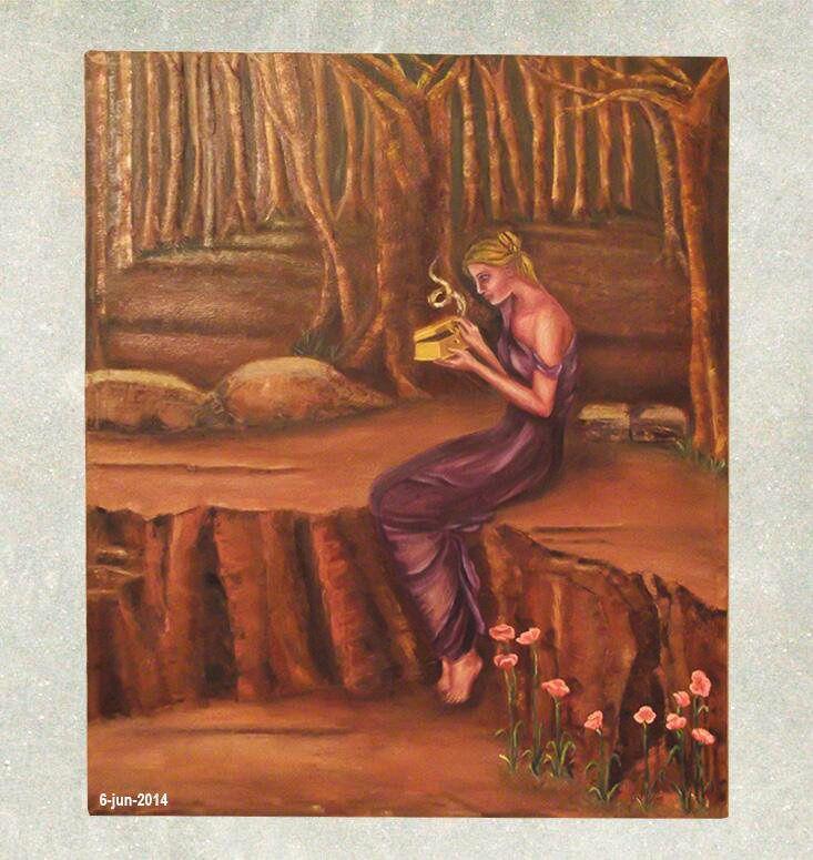 Pintura Al óleo Pandora Abriendo La Caja Reproducción 2014 Pintura Al Oleo Pinturas Cajas