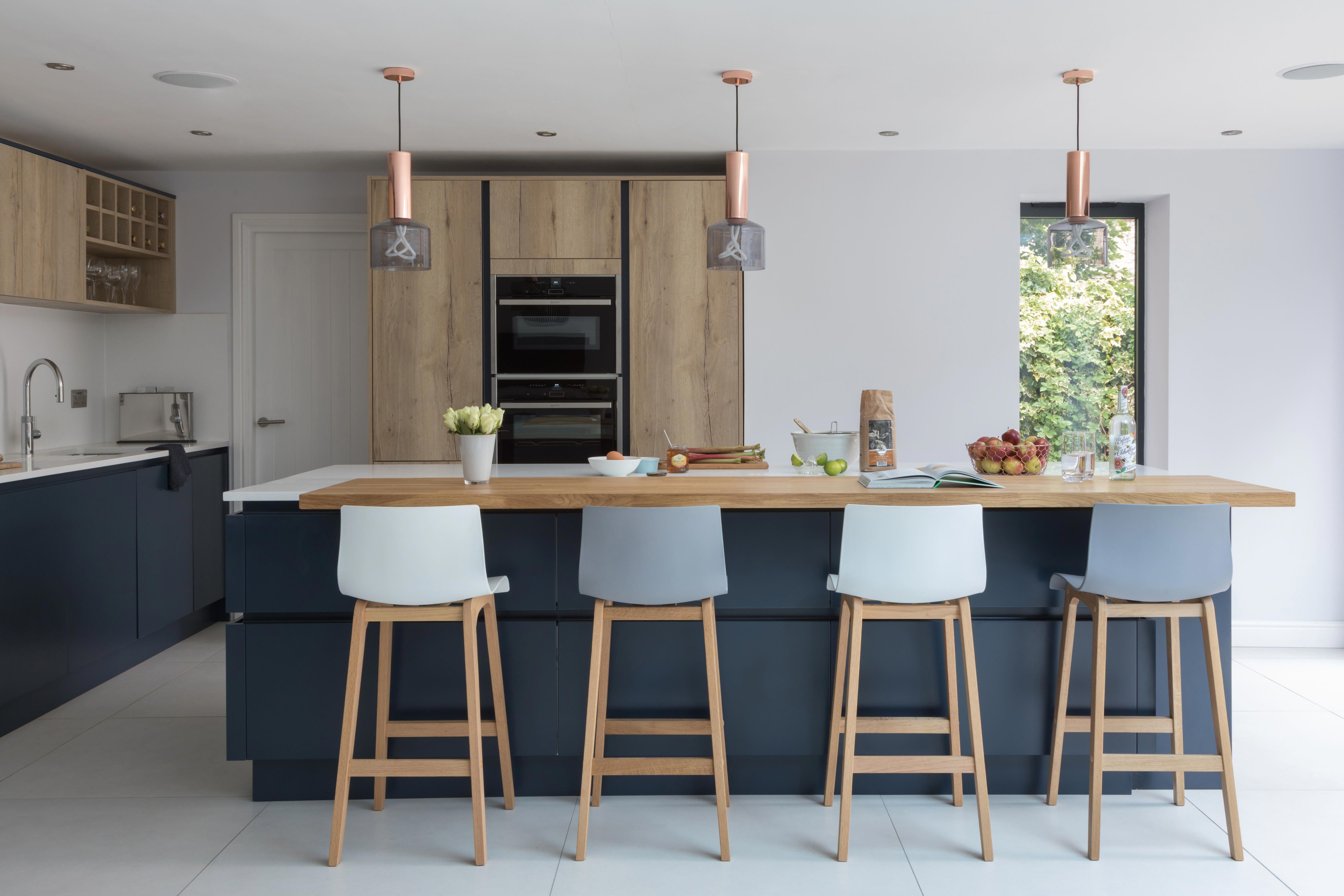 create the perfect modern scandi kitchen by mixing blue and textured wood finishes pictured on kitchen decor blue id=59666