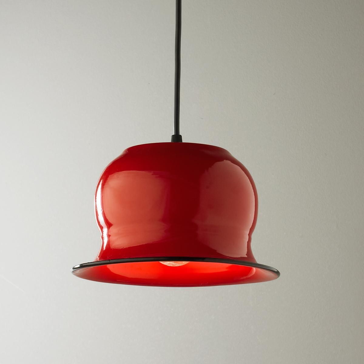 Red Enamel Bowler Pendant With A Bowler Hat Shape And A