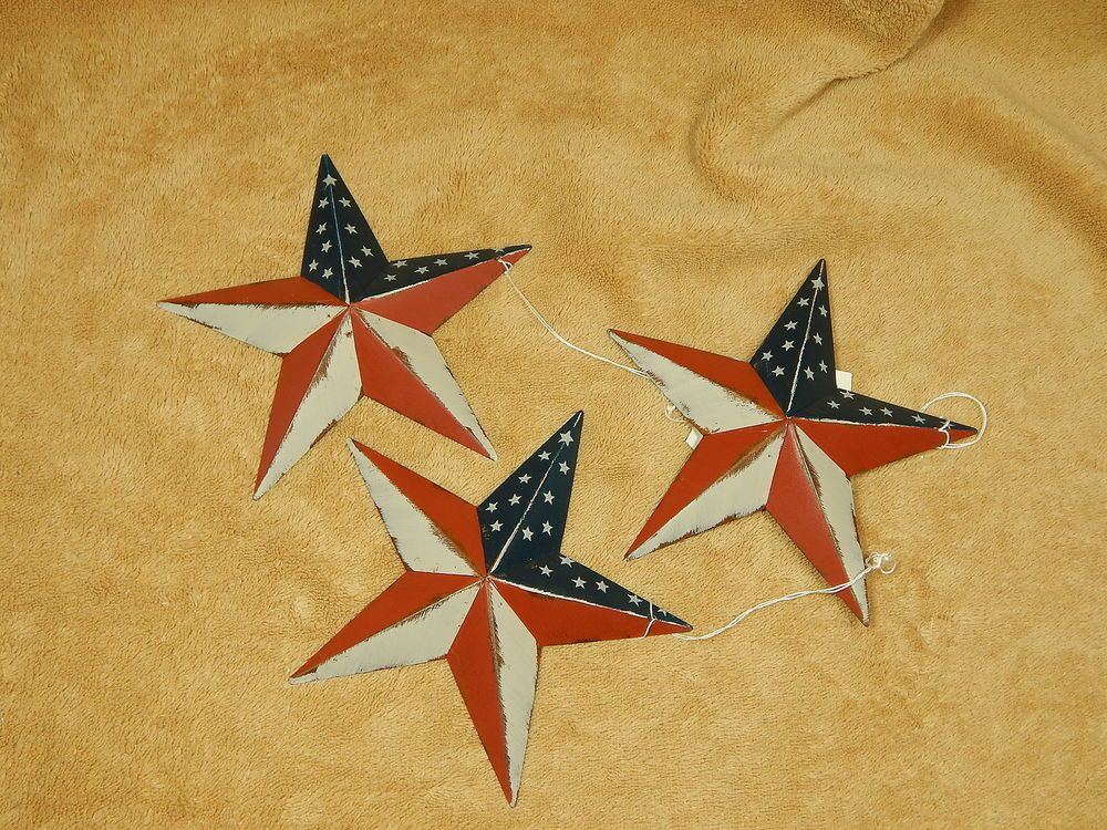 Patriotic Americana Metal Star Wall Decor Barn 5 1/2\