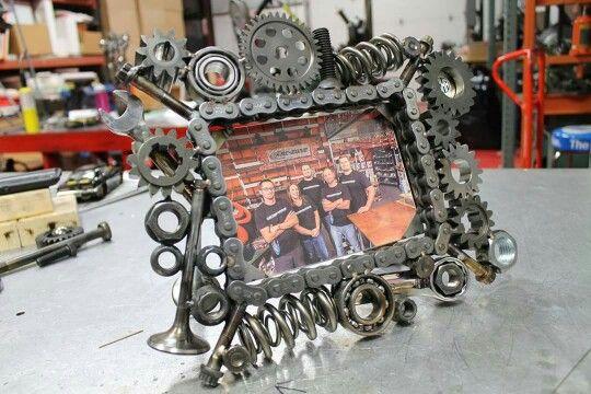 Picture frame junk metal art Metalart motorsports racing welding cars metal art