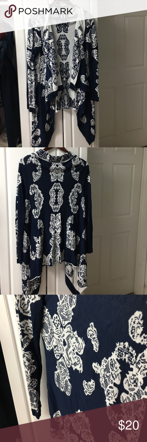 NWOT!  ❤️Soft & Flowy Navy Blue & White Cardigan❤️ Brand new, never worn, amazingly soft cardigan.  Navy blue & white.  94%Rayon, 6%Metallic. Allie & Rob Sweaters Cardigans