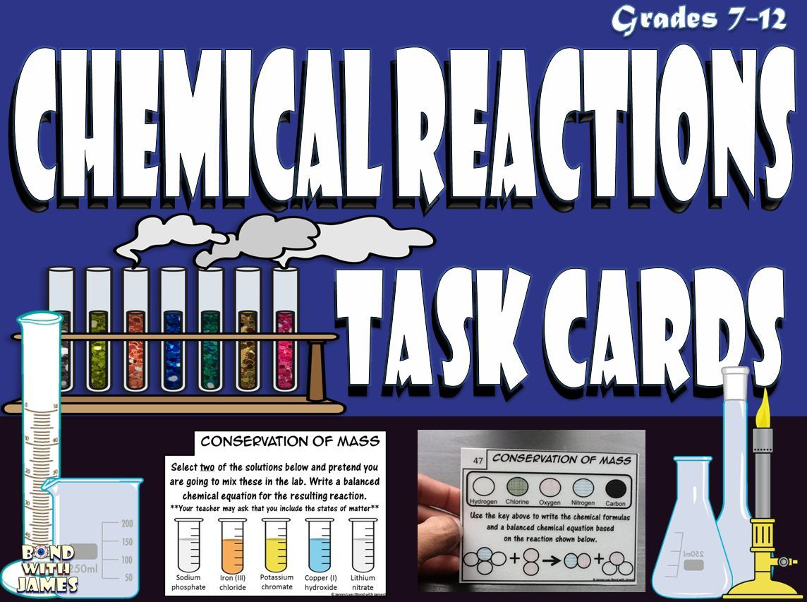 Chemical Reactions: Chemistry Task Cards | Polyatomic ion ...
