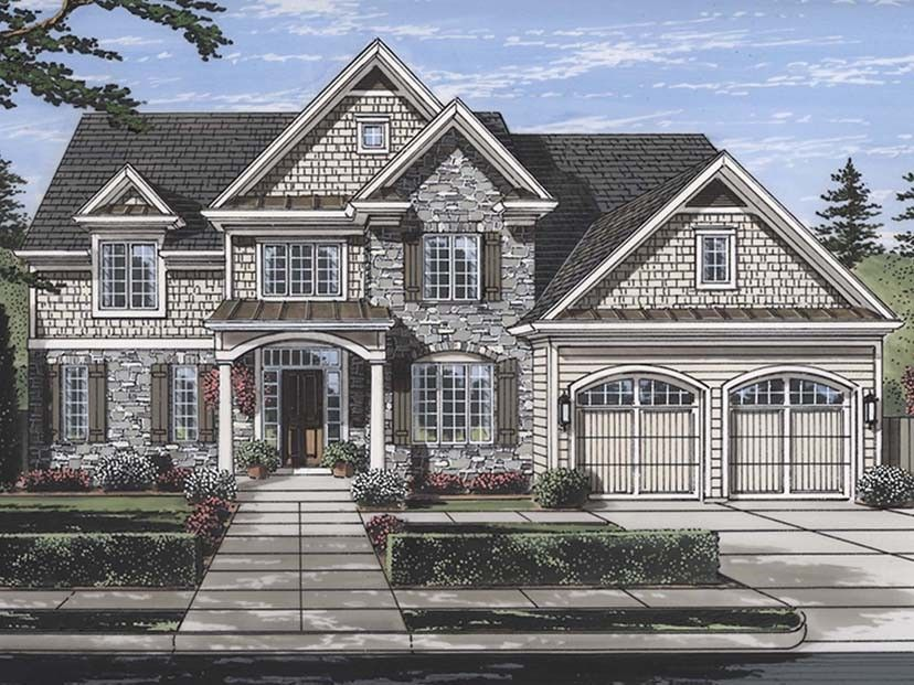 Traditional Colonial House Plan With 3113 Square