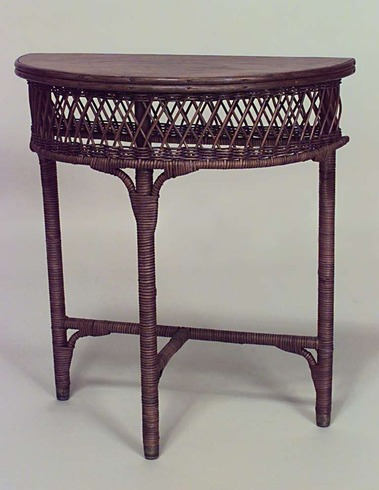 American Mission Natural Wicker Console Table Mebel Wicker