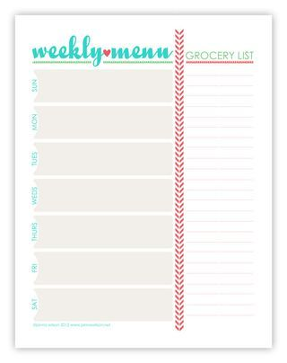 Free Printable Weekly Menu food Menu planning printable, Weekly