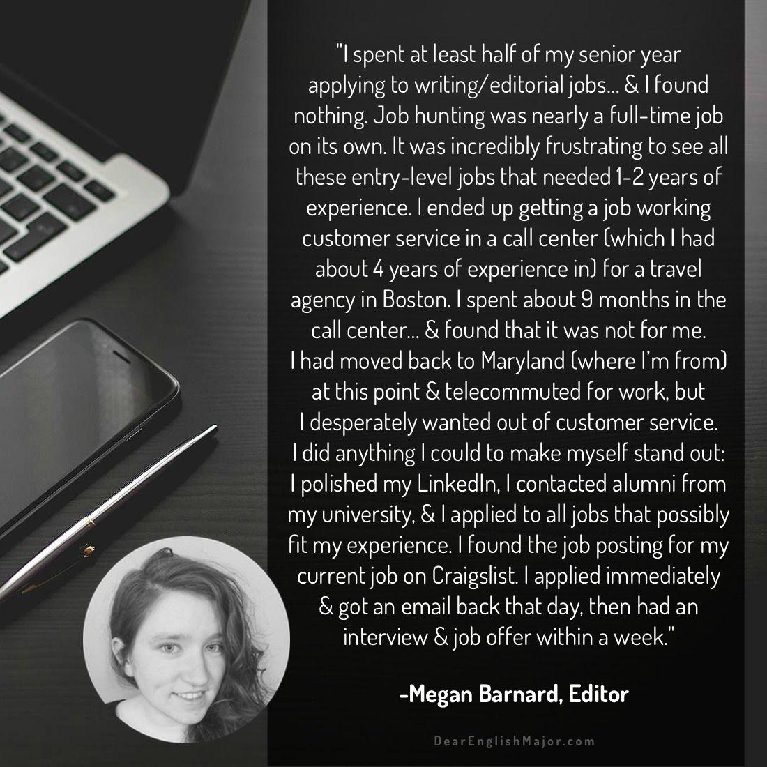 Megan Barnard Editor Dear English Major English Major Job Hunting Entry Level Jobs
