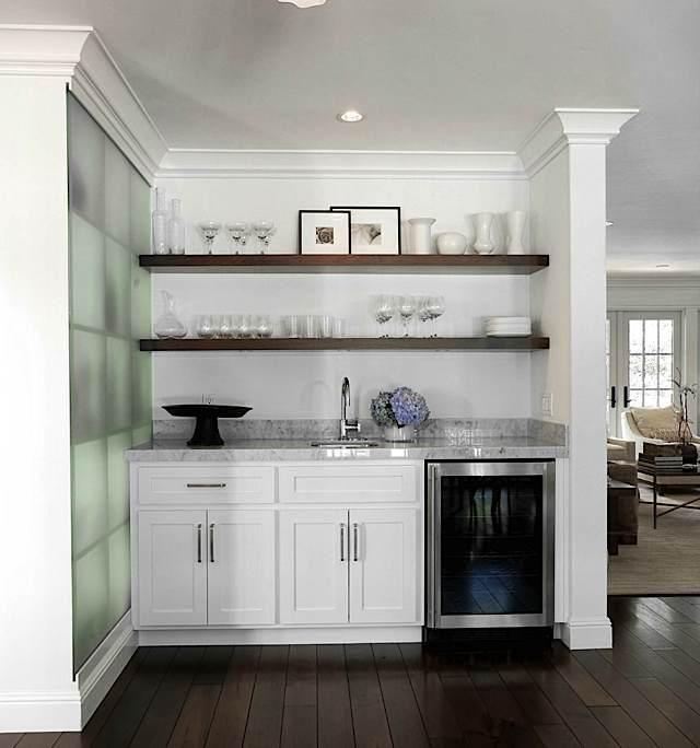 Kitchens White Art Decoration Countertops Flowers Open Floor  · Basement  KitchenetteWet Bars In ...