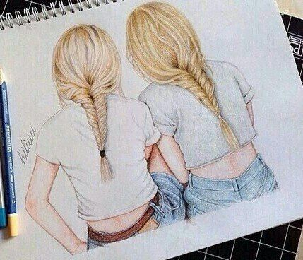 Dessin De 2 Filles Sketches Pinterest Drawings Drawings Of