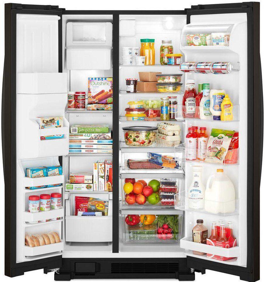 Whirlpool 33 Inch Side By Side Refrigerator 21 4 Cu Ft Black Stainless Steel Side By Side Refrigerator Whirlpool Refrigerator Refrigerator