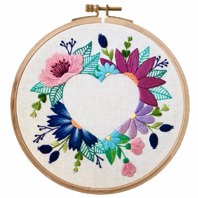 Floral Heart Negative Space | Hand Embroidery Pattern PDF | Digital Download + Video Tutorials and Detailed Instructions for Beginners