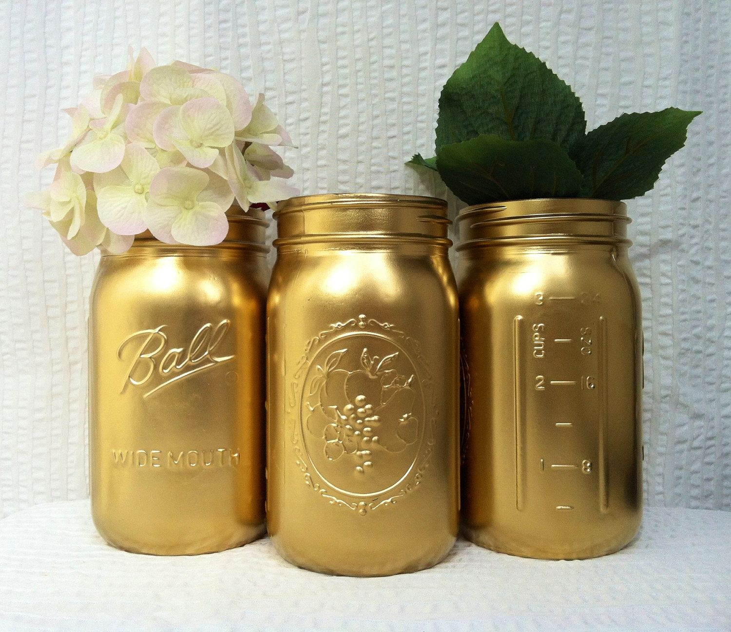 Gold painted mason jar vases holiday decor centerpieces set of