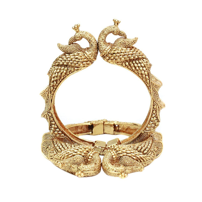 Indian bollywood gold plated mughal kada bangles bracelet set