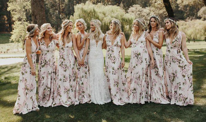 robe demoiselle d'honneur longue imprimée florale
