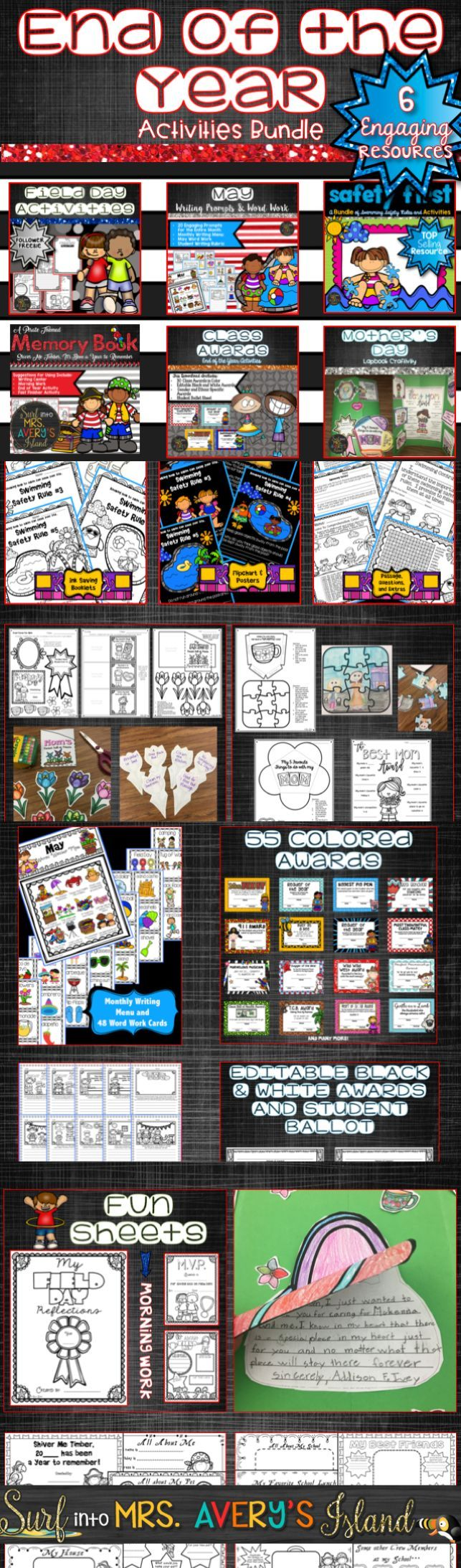 These end of the year activities for kids will keep your elementary students engaged as they complete a variety of fun activities and projects!  6 products are included in this bundle to ensure teachers have everything they need to end the school year!  Click here to discover an end of the year memory book, Mother's Day craft, May writing prompts, Field Day booklet, Class Awards, and a Swim Safety packet to keep your students safe during the summer!
