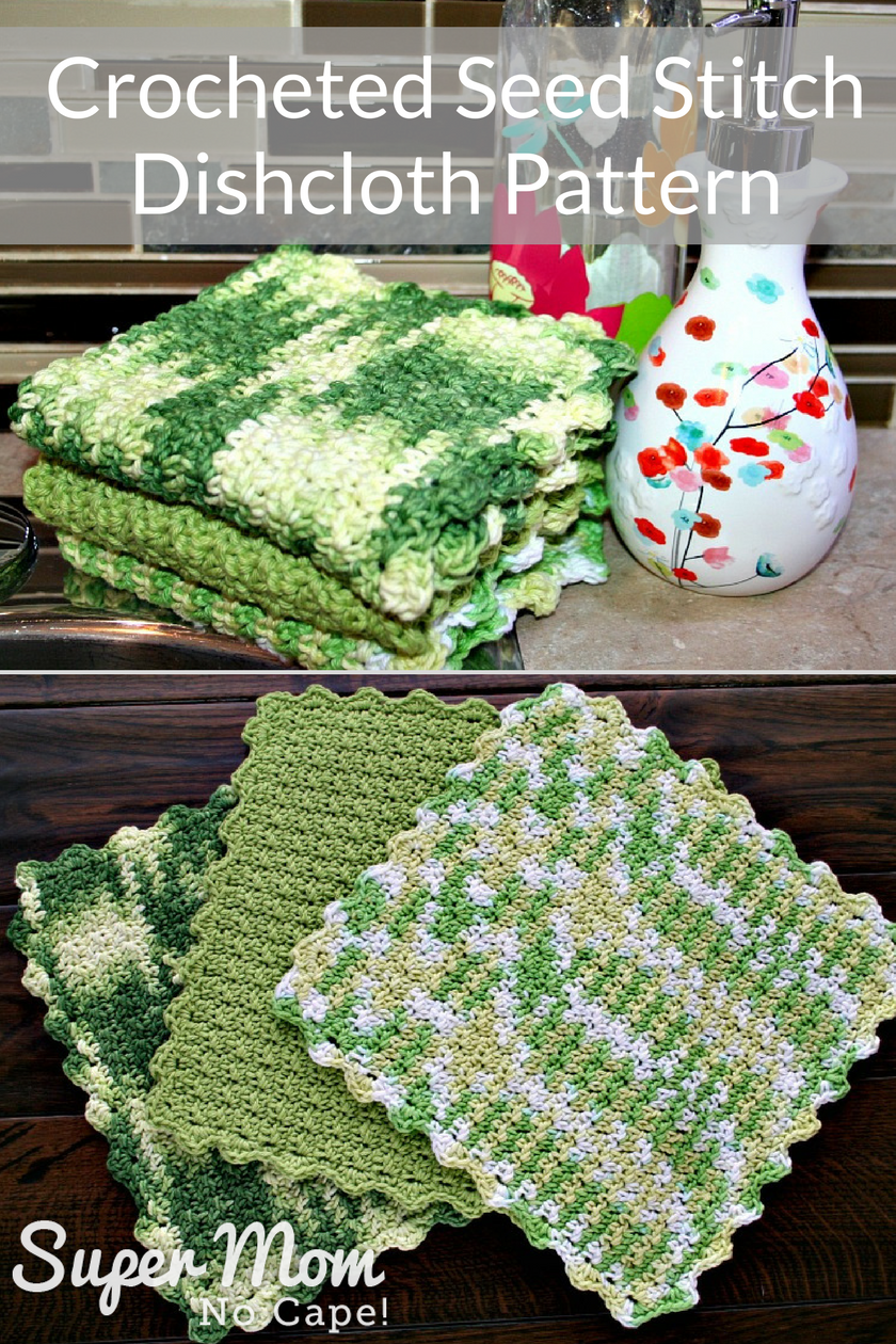 Crocheted Seed Stitch Dishcloth Pattern | Häkelanleitung