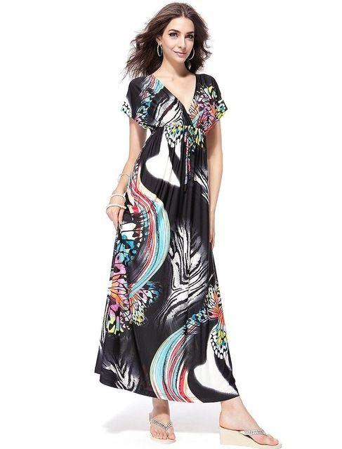 c3f5b19e16 2017 Womens Summer Elegant Boho Beach Clothing Ladies Bohemian V-Neck Print  Maxi Long Dress Plus Size 5XL 6XL Vestidos - Black, 4XL