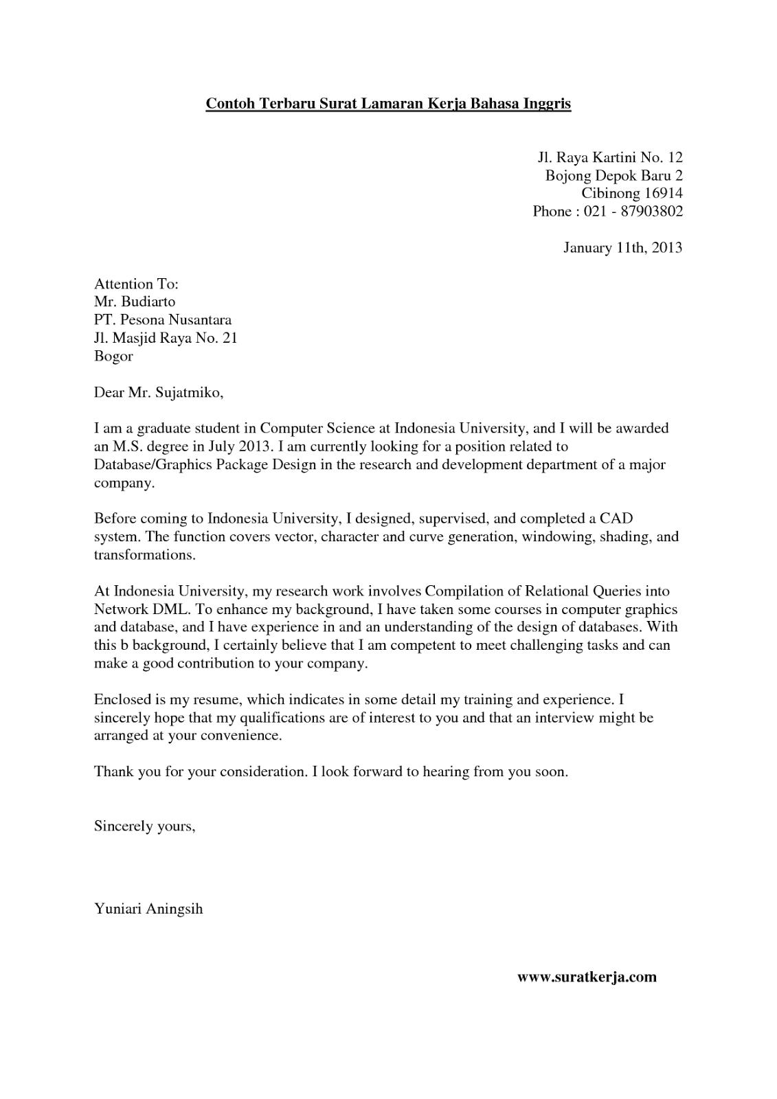 Contoh Surat Lamaran Kerja Bhs Inggris di 2020 Bahasa