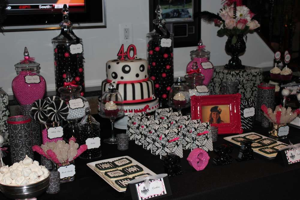 Black White Pink Birthday Party Ideas 40th birthday parties