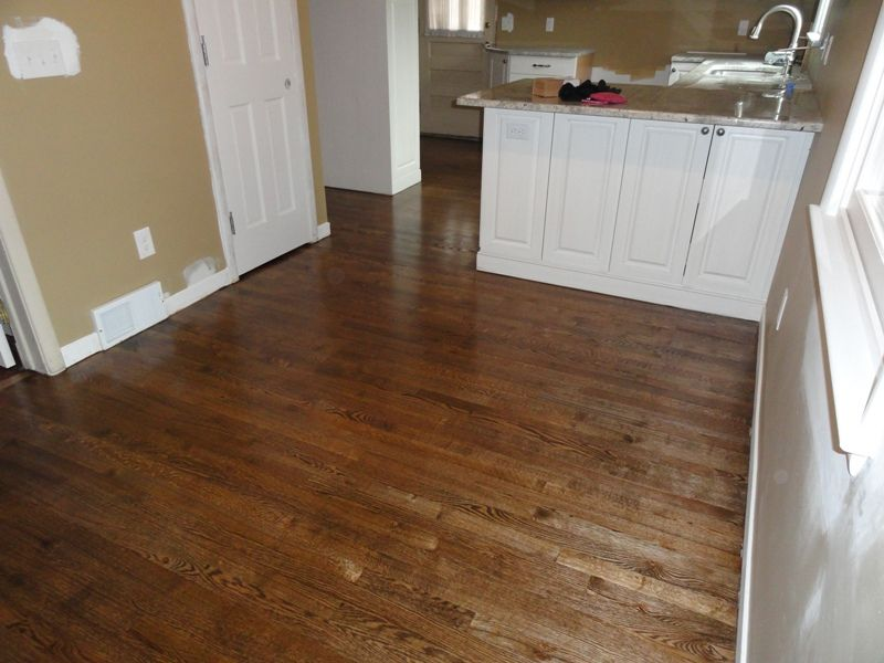 Refinished Wood Floors | Sanded, Stained, And A Fesh Glitsa Finish.