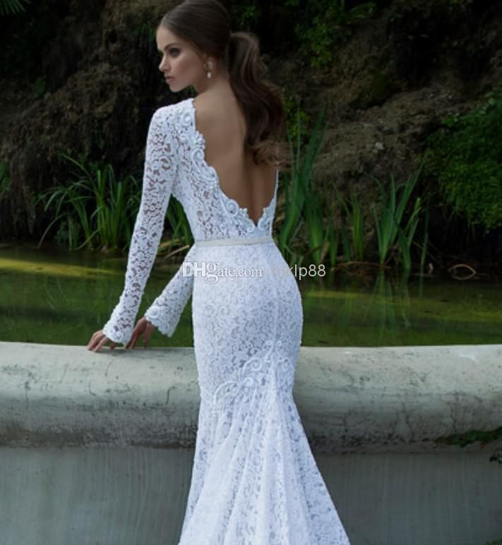 White Vintage Lace Bateau Ribbon Backless Mermaid Berta Bridal Winter Long Sleeve Wedding Dresses Gowns Pretty Dress As Low