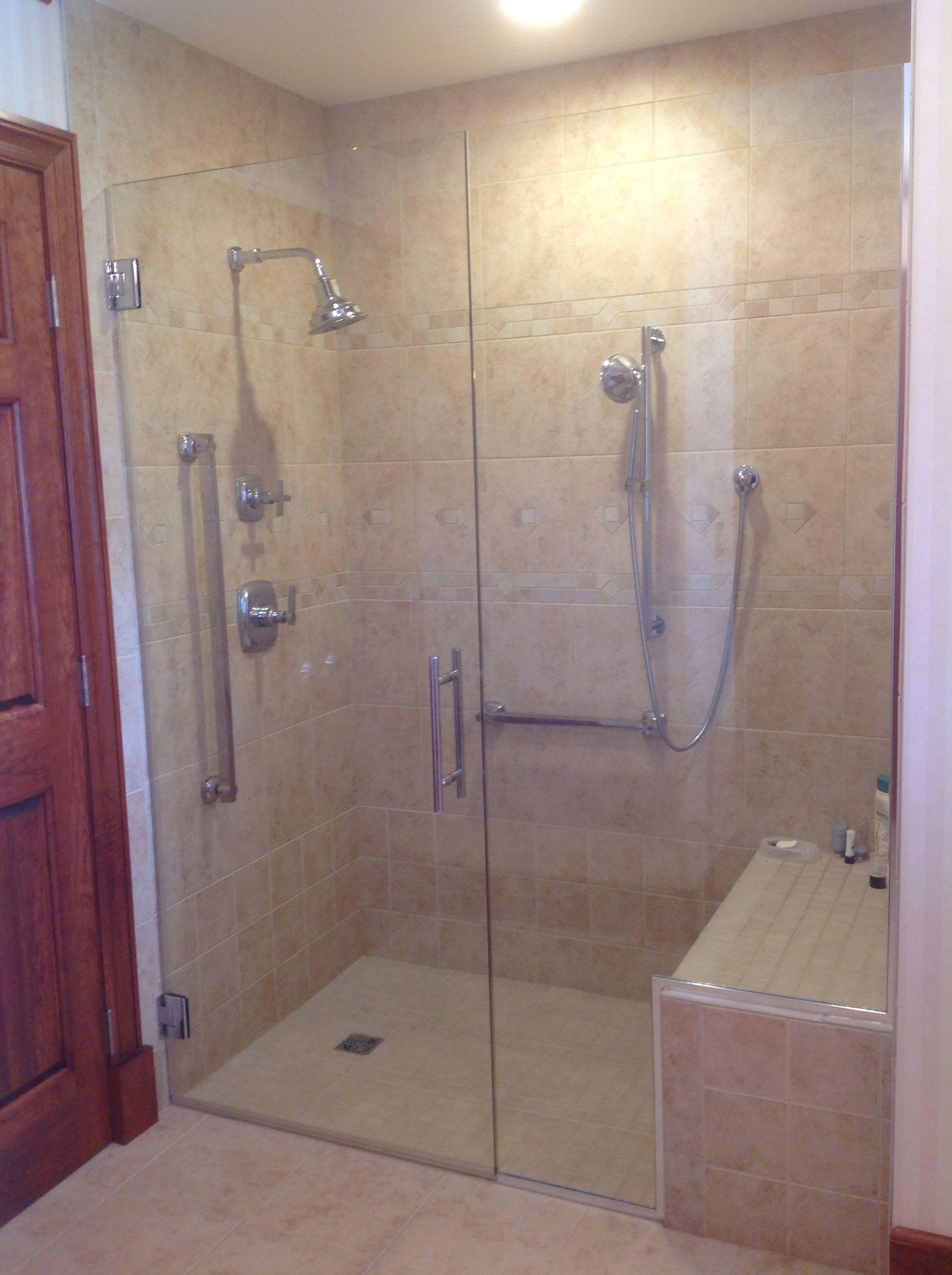 Door Notched Panel Zero Clearance Walk In Shower Frameless