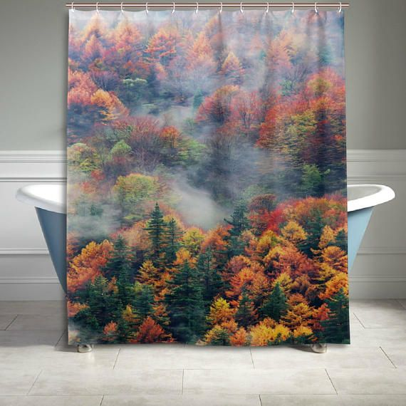 Misty Forest Mountain Landscape Shower Curtain Bathroom Decor Home