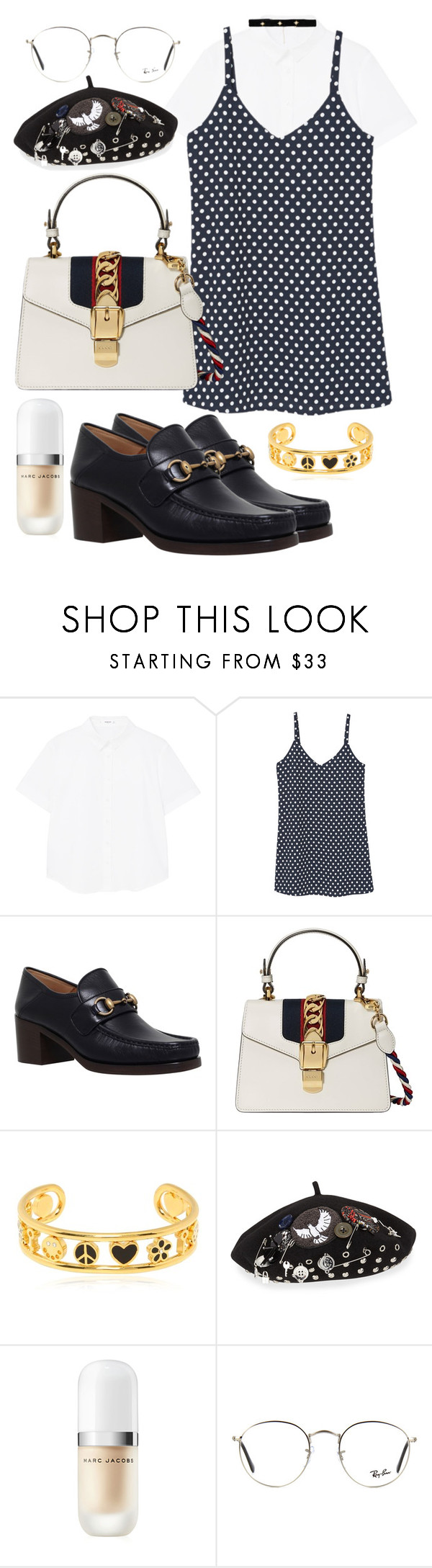"""""""Untitled #1054"""" by veronice-lopez ❤ liked on Polyvore featuring MANGO, Gucci, Marc by Marc Jacobs, Marc Jacobs, Ray-Ban and Bartoli"""
