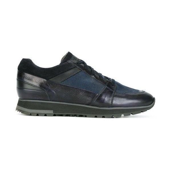 Santoni Grey Sneaker 195 liked on Polyvore featuring shoes sneakers santoni