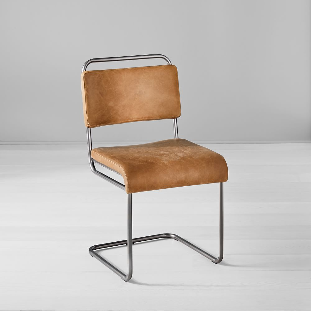 Industrial Cantilever Leather Dining Chair Leather Dining Chairs