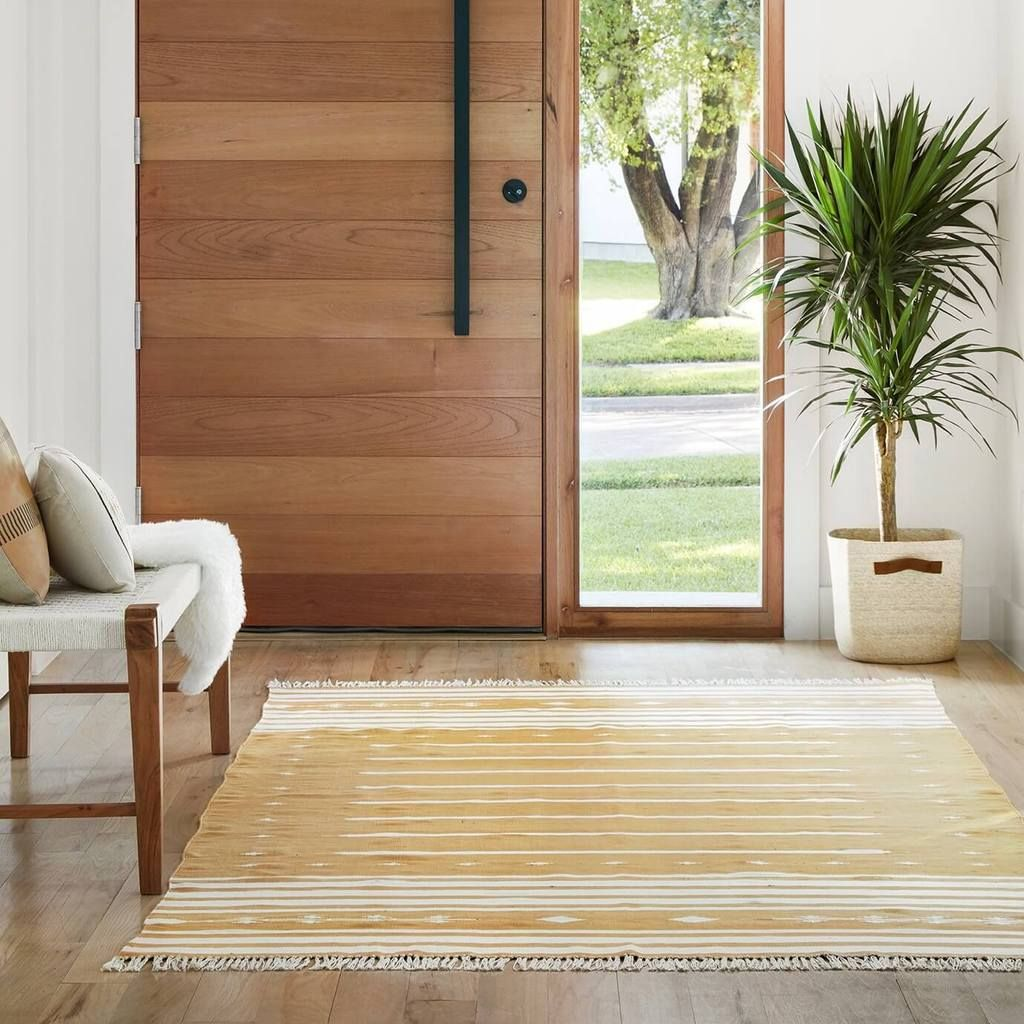 Modern Dhurrie Rugs | Mustard Area Rug Handcrafted in India