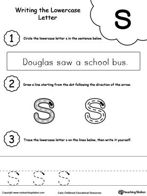 Writing Lowercase Letter S  Worksheets Activities And Letter