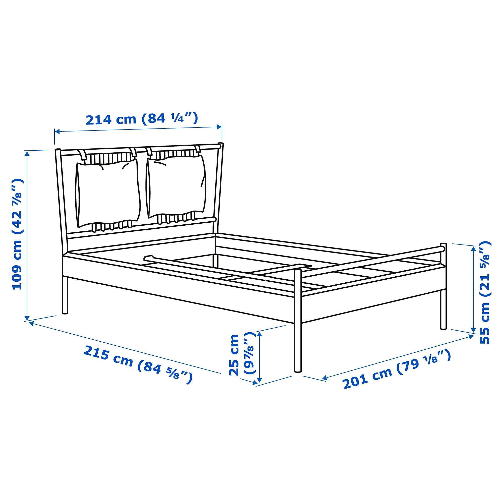BJÖRKSNÄS Bed frame birch, Luröy King Bed frame, Birch