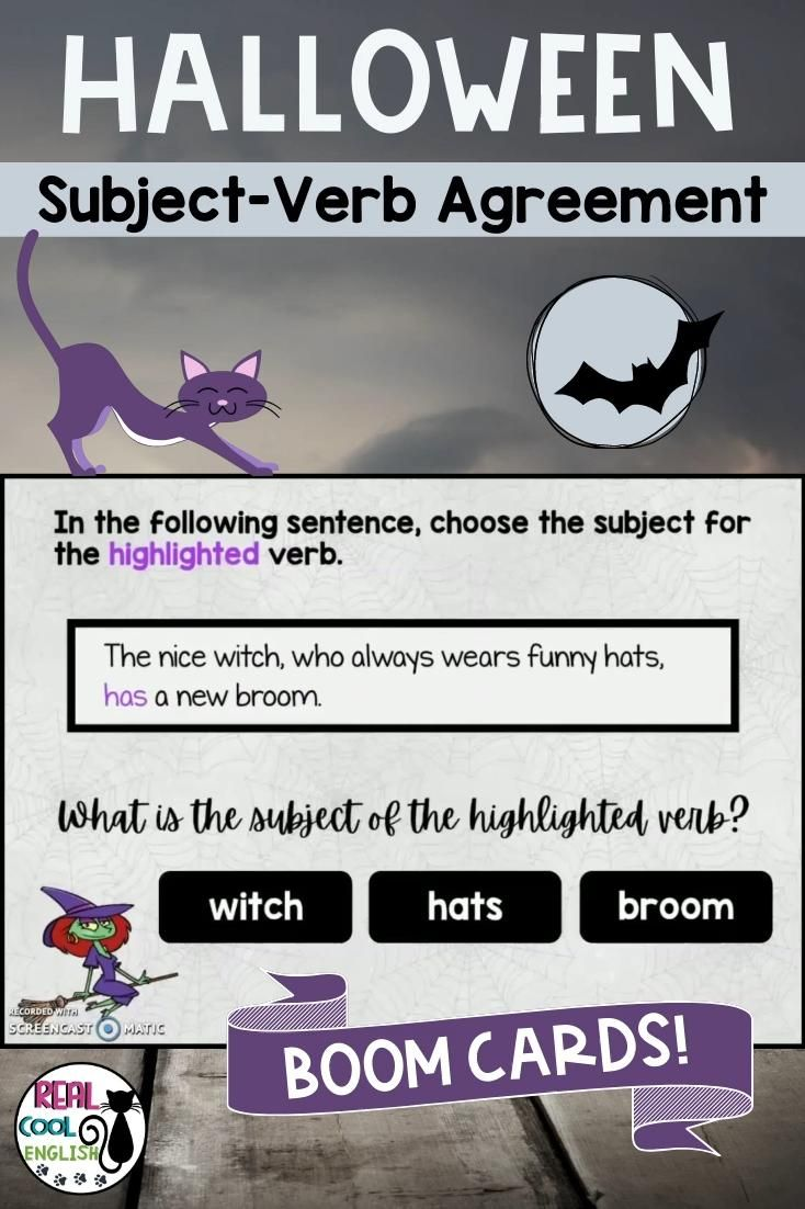 Your students of all ages will love practicing subject verb agreement with these fun Halloween-themed Boom Cards! And teachers love that these digital task cards are self-correcting and no prep! Perfect for upper elementary and above, even Adult ESL for classroom use or distance learning.  #grammar #verbs #agreement #subject #ela #esl