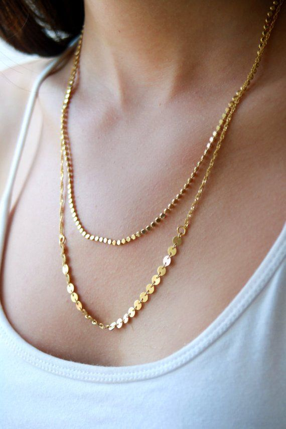 Two Tier Gold Necklace Personalized Gift 18k Gold By Junamjewelry Unique Bridal Jewelry Delicate Jewelry Gold Necklace Wedding