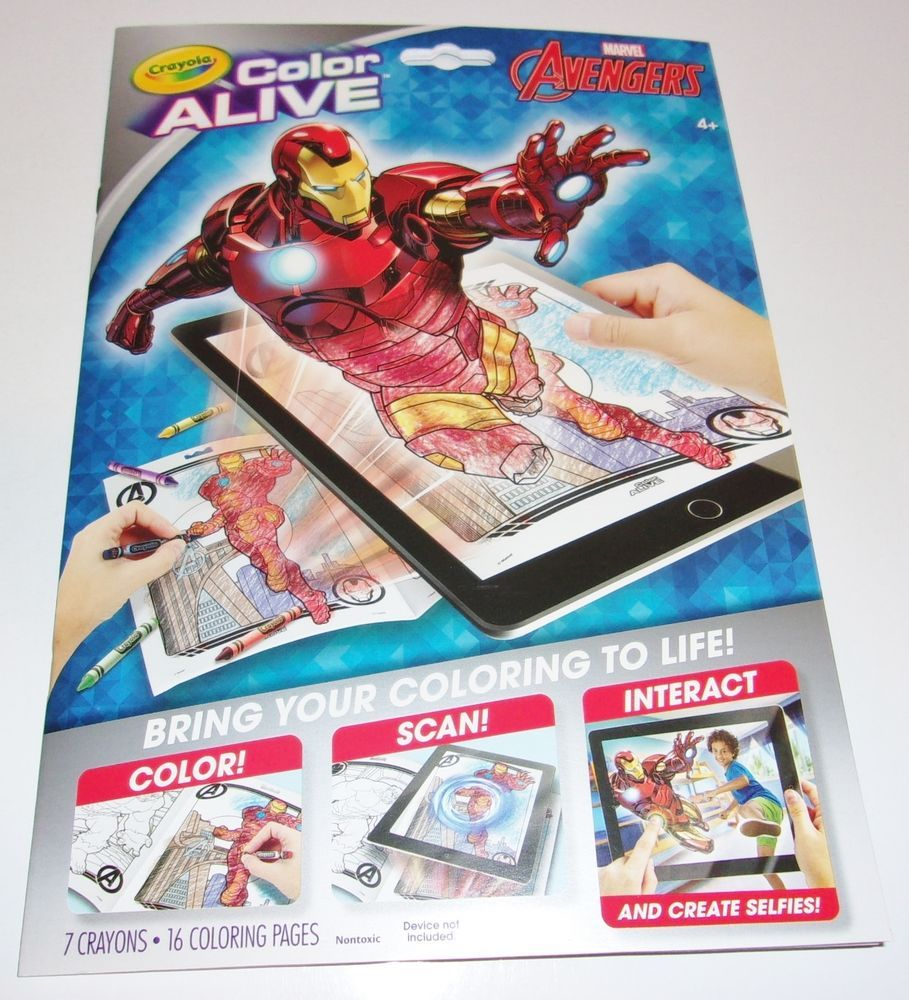 Crayola Color Alive Avengers Interactive Coloring Book 7 Crayons 16 ...