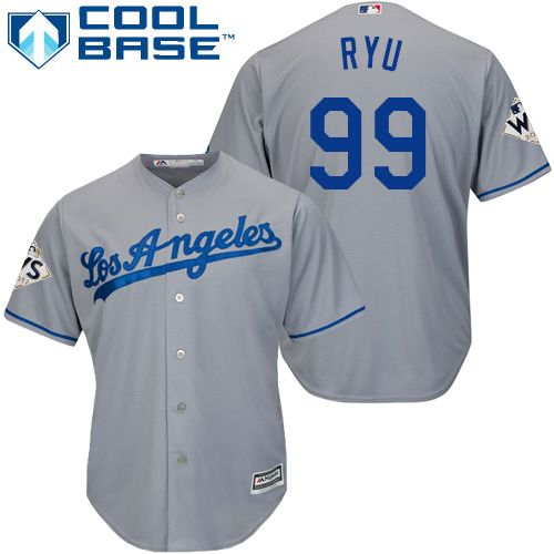 3cf0c3df8 Dodgers  99 Hyun-Jin Ryu Grey New Cool Base 2017 World Series Bound Stitched  MLB Jersey