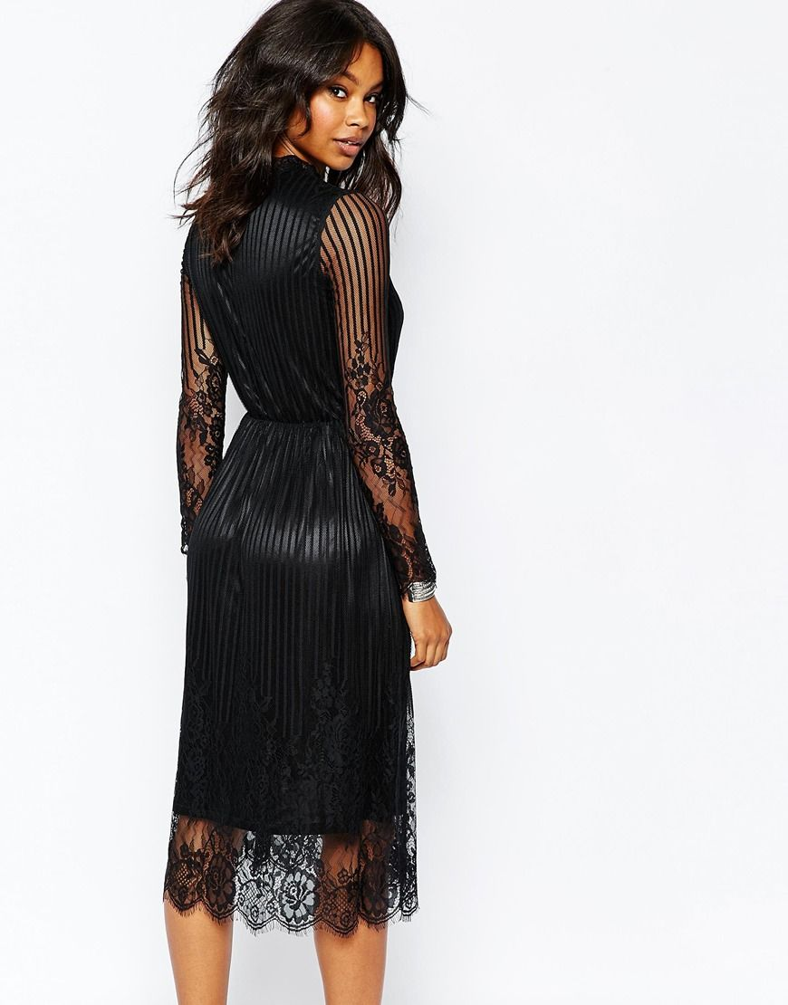 7eefe3553 Image 2 of Boohoo Long Sleeve Black Lace Midi Dress | pretty! | Lace ...