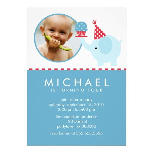 Cute blue elephant personalized photo birthday party invitations #children #kids #party #invites