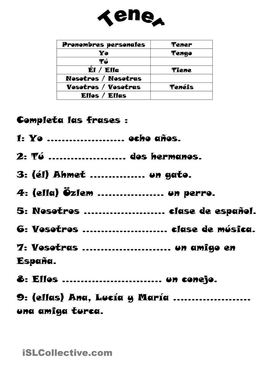 El Verbo Tener Trabajos Hojas De Trabajo De Ele Gratuitas Spanish Worksheets Spanish Verbs Teaching Spanish