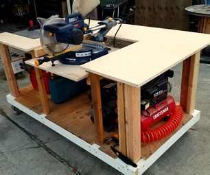 Mobile Workbench With Built In Table Amp Miter Saws Home