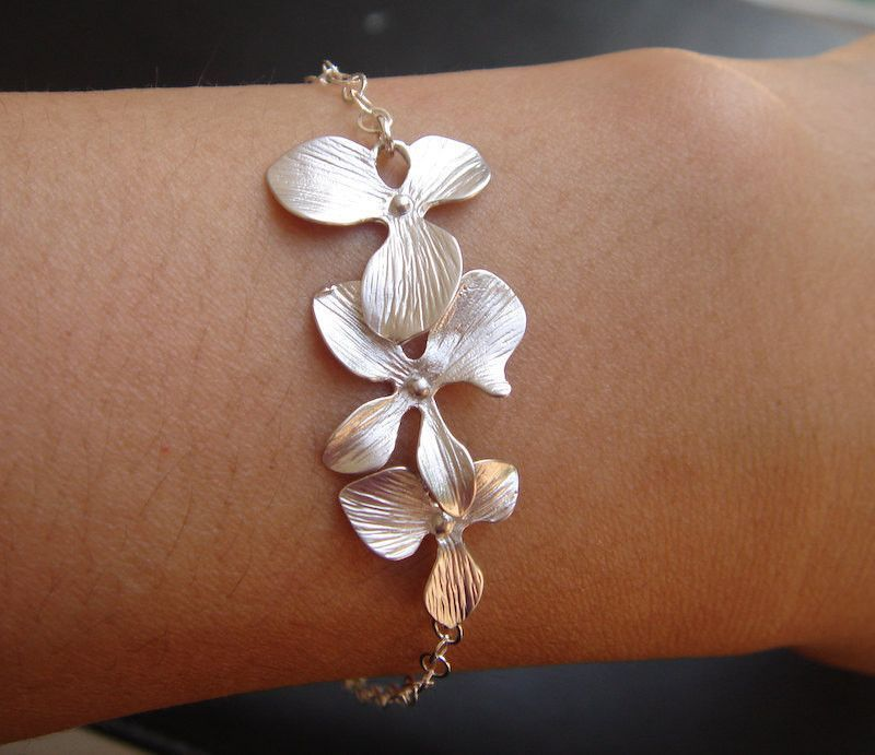 Hazel,Silver Bracelet,Sterling Silver,Pearl,Lotus,Flower,Bride,Handmade jewelery by valleygirldesigns on Etsy.