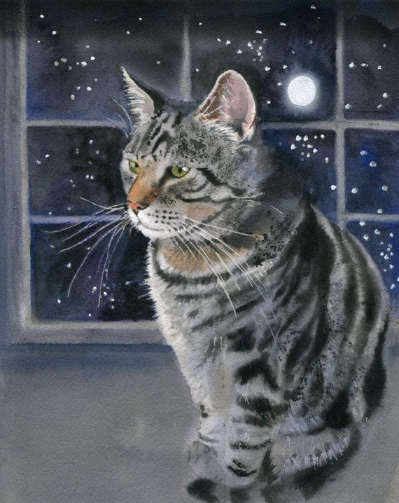 Original Tabby Cat Art Watercolor Painting For Cat Lover Unique