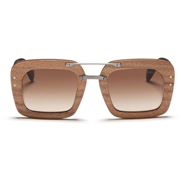 Prada Raw Matte Tortoiseshell Temple Wood Sunglasses 485